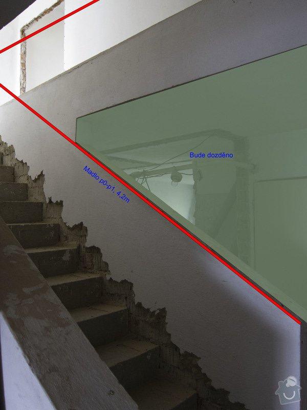 Obložení betonového schodiště a nové zábradlí: 0p-b