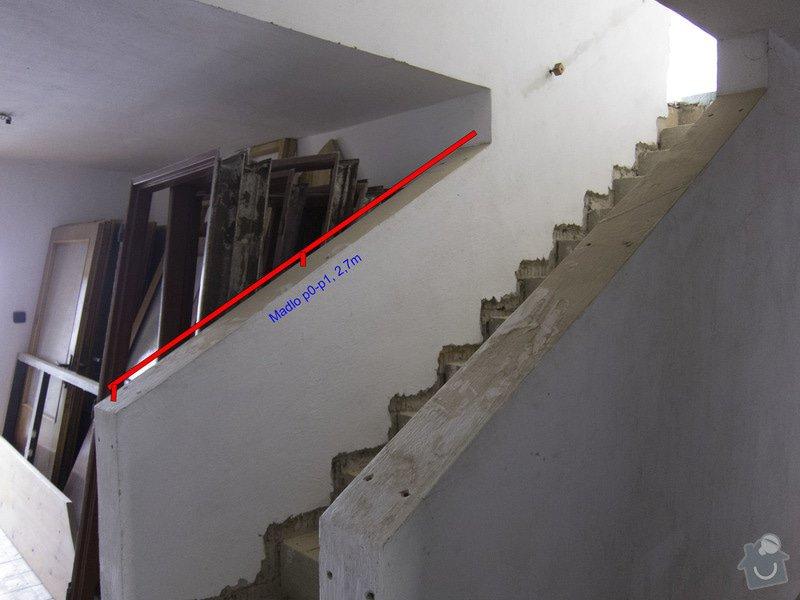 Obložení betonového schodiště a nové zábradlí: 0p-a