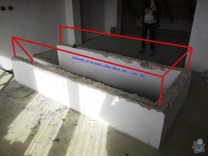 Obložení betonového schodiště a nové zábradlí: 3p