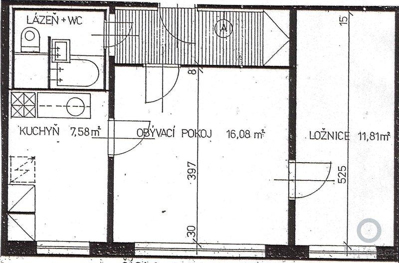 Stěrka (štuk) + perlinka v panelovém bytě: bytPudorys