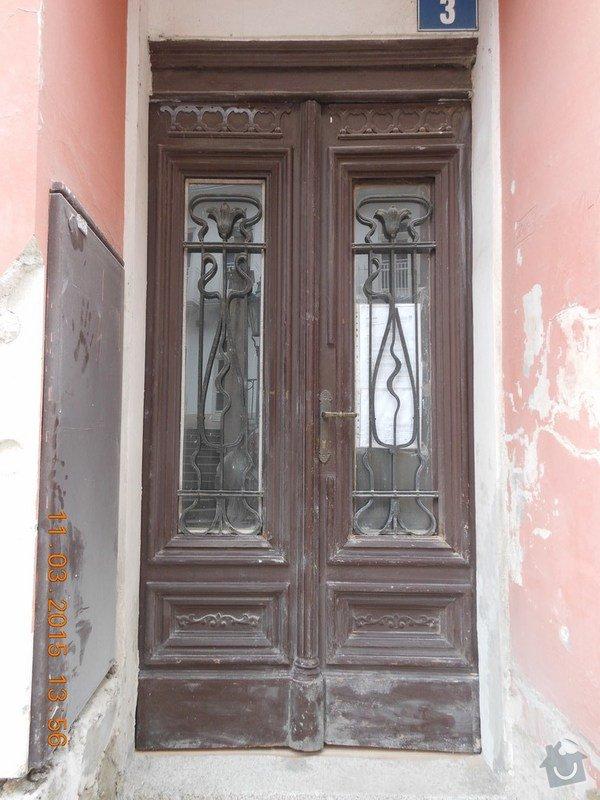 Входная дверь с улицы, стандартная, дерево, стекло, решетка, двустворчатая.: 001_