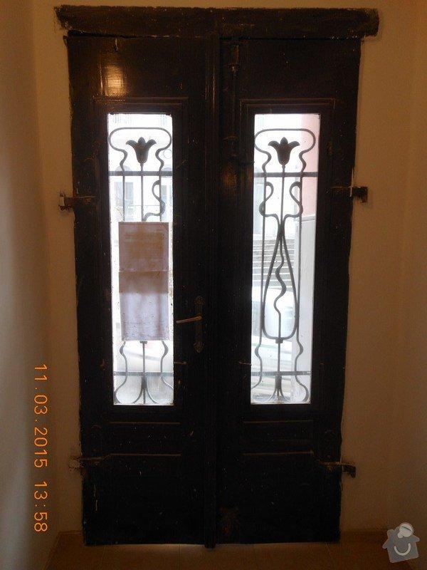 Входная дверь с улицы, стандартная, дерево, стекло, решетка, двустворчатая.: 004_