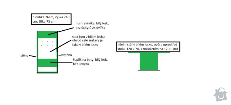 Vestavěná skříň + botník + jídelní stůl: botnik_stul
