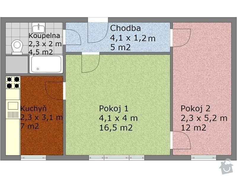 Částečná rekonstrukce panelového bytu 2+1 (44m2): Byt_2_1