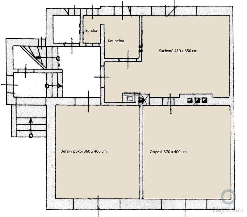 Podlahové topení (3 pokoje a koupelna), 45 m2: prizemi-pokoje