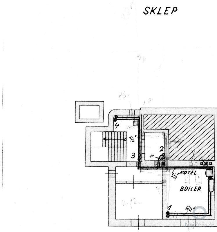 Podlahové topení (3 pokoje a koupelna), 45 m2: sklep-topeni
