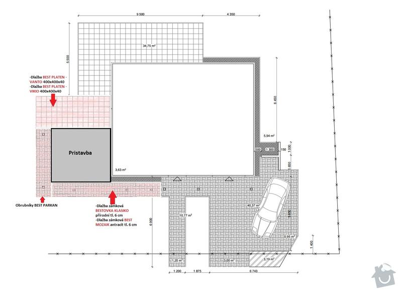 Rozsirenie sucasnej terasy + chodnik okolo novej pristavby (zamkova dlazba): Chodniky