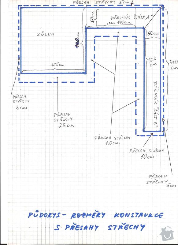 Stavba kůlny s dřevníkem - okres Kladno - prioritou rychlost zhotovení: 2_-_pudorys_rozmery_konstrukce