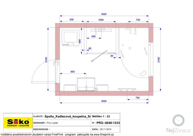 Zednické práce - obkladání koupelny + WC: Plan_-_Spollu_Kadlecova_koupelna_Smart
