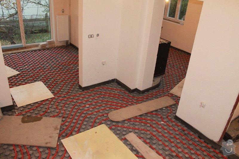 Kompletní rekonstrukce rozvodů elektřiny, topení (radiátory + podlahovka), zabezpečovací zařízení: Podlahovka