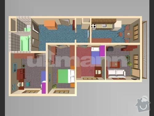 Kompletní rekonstrukce panelového bytu 80m2: pudorys