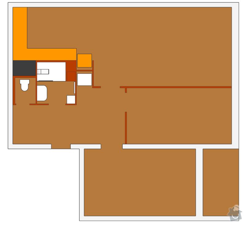 Rekonstrukce bytového jádra: pudorys