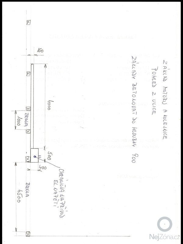 Vybetonování základu pro posuvnou bránu + snížení zámkové dlažby: image