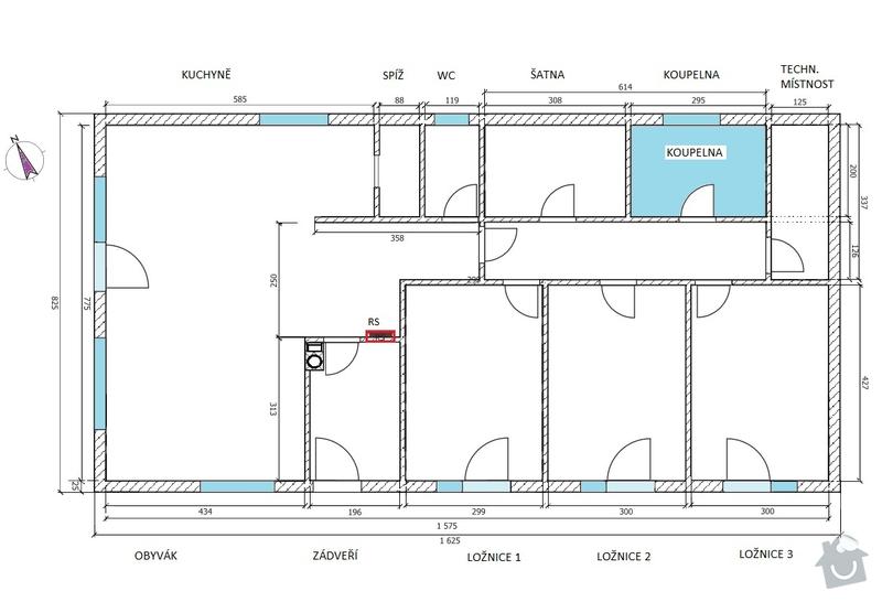 Zhotovení SDK stropu 116 m2: LS_-_Bungalov_1280_-_rozmery_pro_SDK