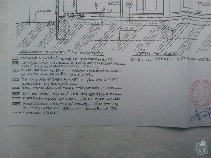 Zednické práce,vyzdění hrubé stavby: Podelny_rez_legenda_p