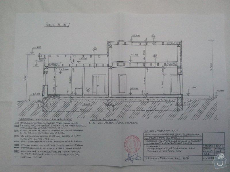 Zednické práce,vyzdění hrubé stavby: Podelny_rez_p