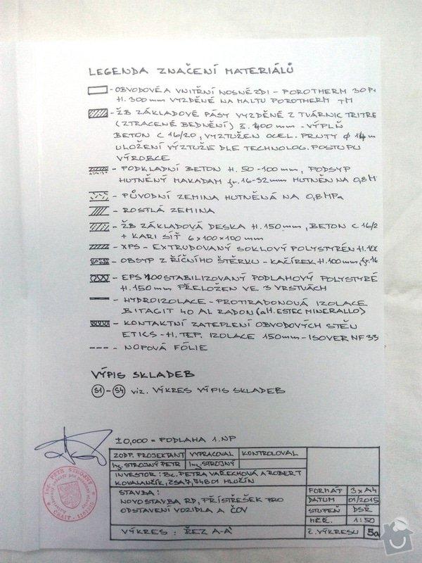 Zednické práce,vyzdění hrubé stavby: Pricny_rez_legenda_p