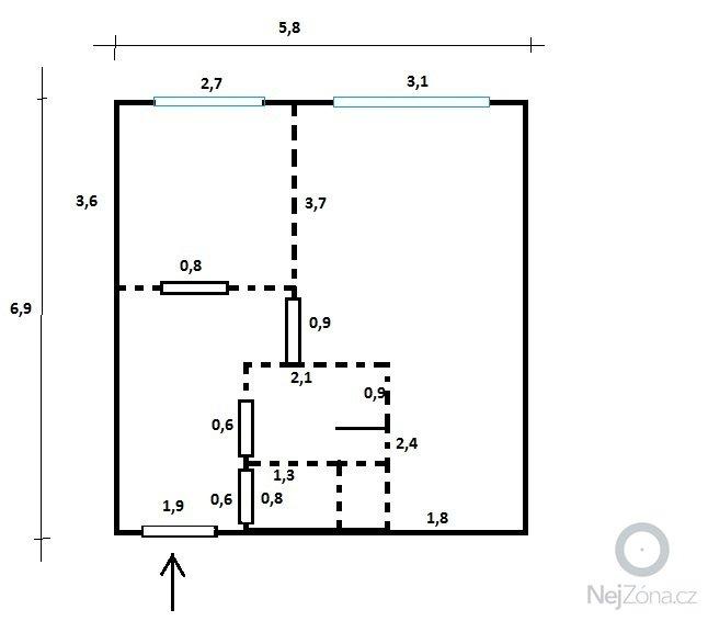 Omitky + oprava betonovych zdi+stropu: nacrt