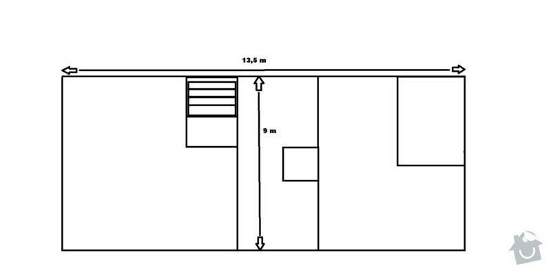 Rekonstrukce sedlové střechy: Pudorys