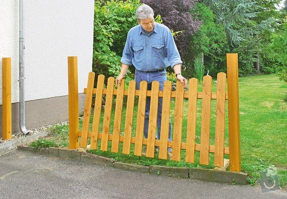 Montáž a dodávka nízkého dřevěného plotu s brankou: plot1