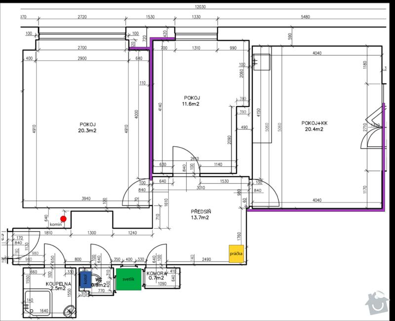 Přestavba topení na teplovodní v bytě 3+kk: vykurovanie-nacrtok