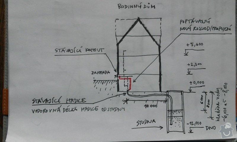 Instalatérské práce - propojení studny a zahradního kohoutu: schema