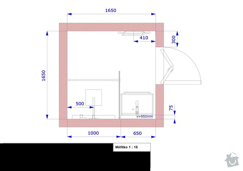 Koupelna Zednické a obkladačské práce: Pudorys_1