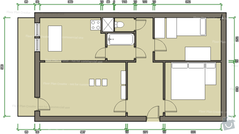 Kompletní rekonstrukce panelového bytu 3+1: puvodni