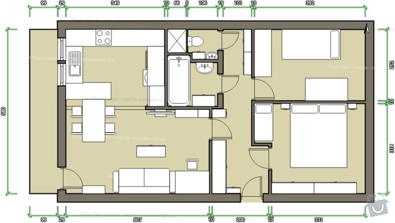 Kompletní rekonstrukce panelového bytu 3+1: navrh