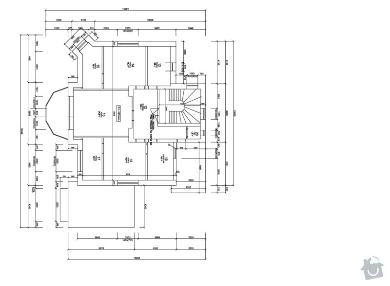 Rekonstrukce bytu v 1. patře a schodiště rodinného domu v Liberci: pudorys_1._patro