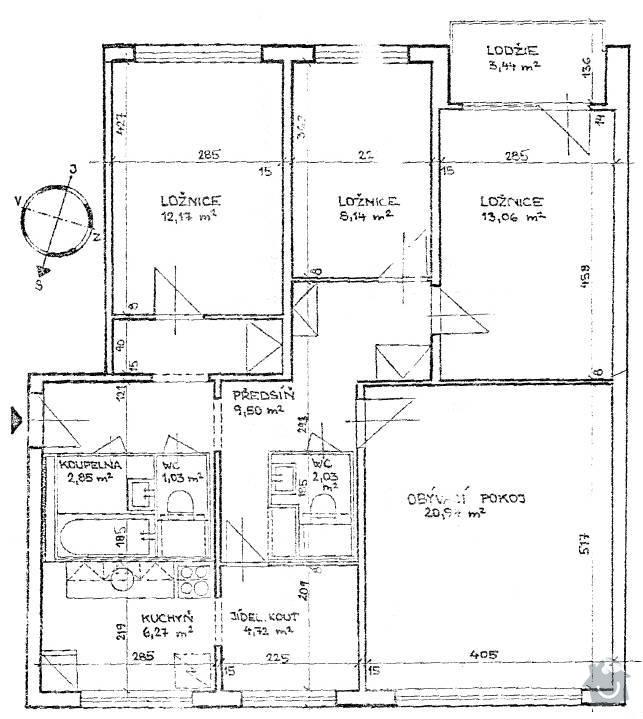 Rekonstrukce bytu: puvodni