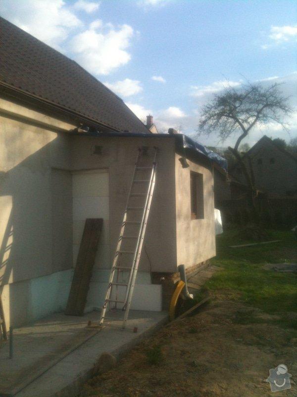 Pokrytí střechy přístavku 12 m2 vč. svodů plus svody na valby: pristavek