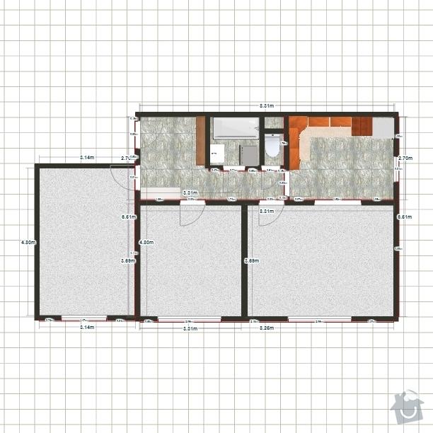 Malířské práce - byt 3+1: Model-byt