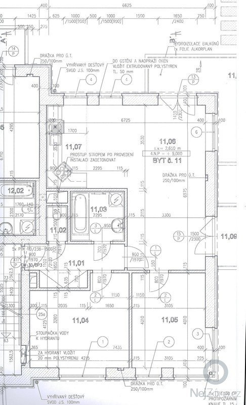 Vymalování bytu 3+kk: pudorys3kk