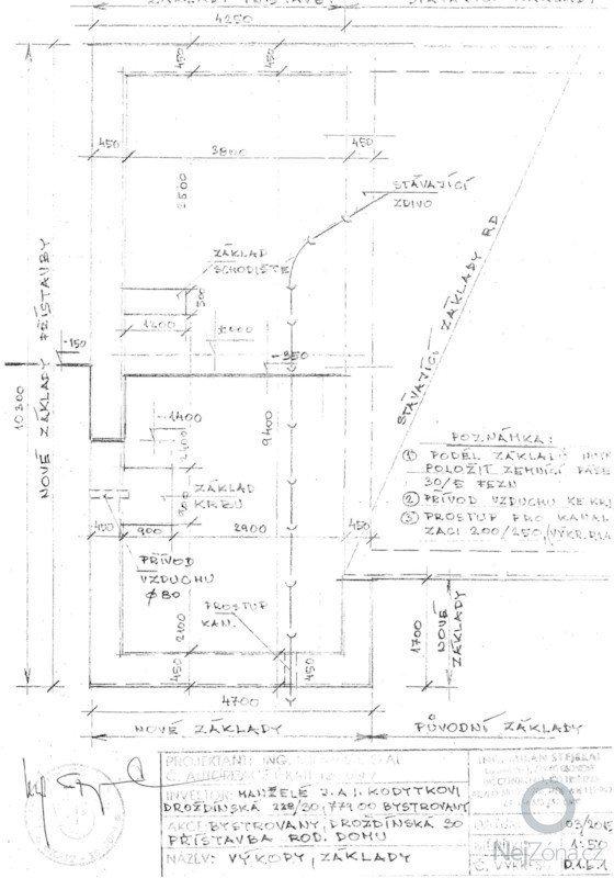 Zpracování cenové nabídky přístavby rodinného domu v Bystrovanech: zaklady