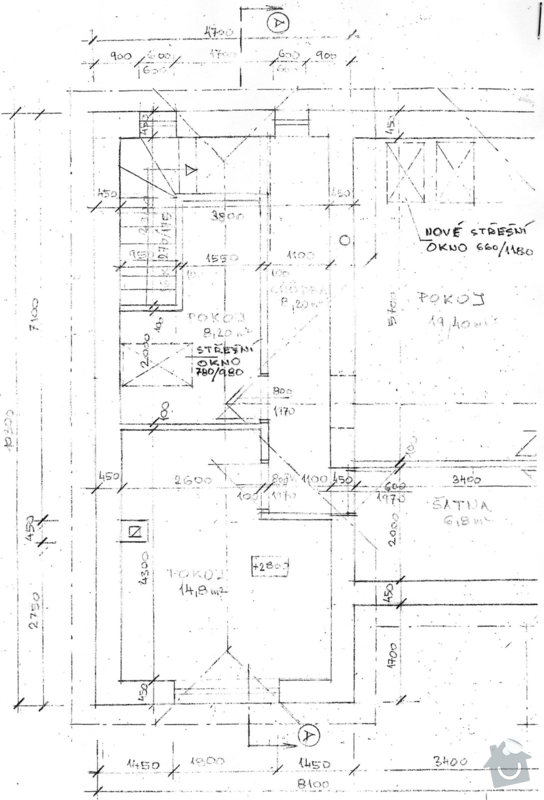 Zpracování cenové nabídky přístavby rodinného domu v Bystrovanech: pudorys_2.NP_-_1.patro