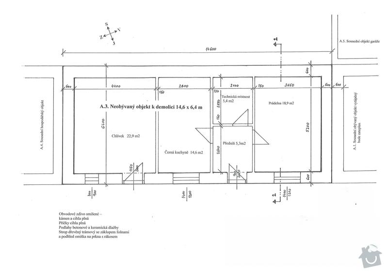Zbourání jednopodlažní budovy včetně skládkování suti: Demolice_-_vykres_02