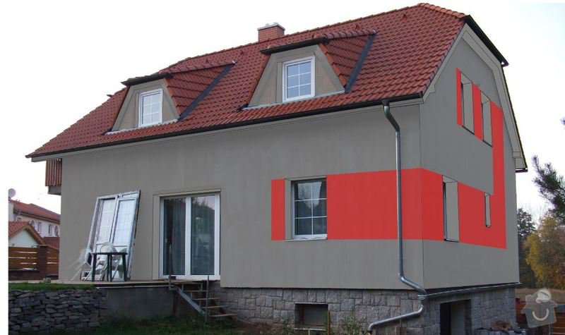 Fasada dom 300m2 + leseni: 3a