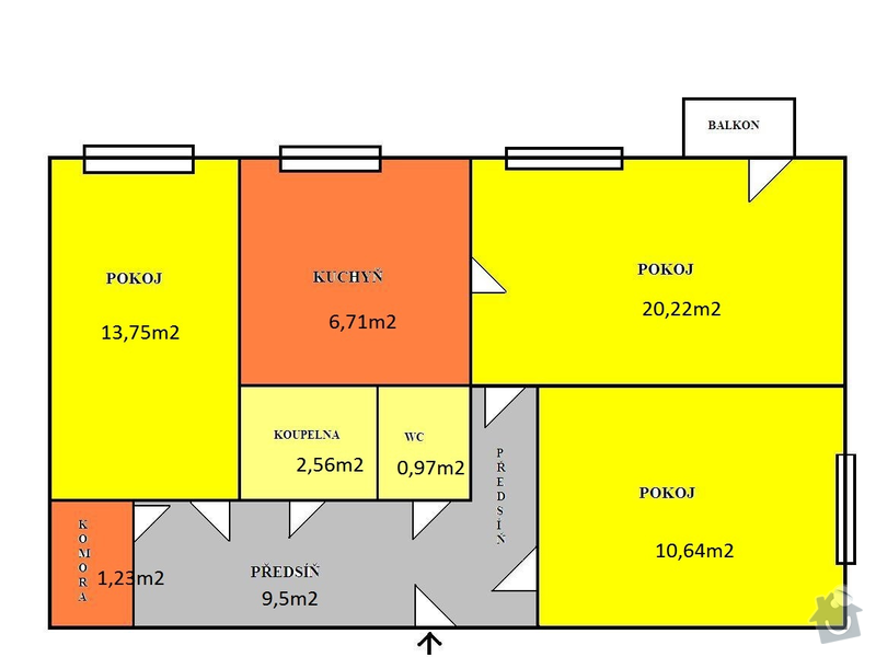 Rekonstrukce elektřiny 3+1 70m2: planek_sporilov_rozmery