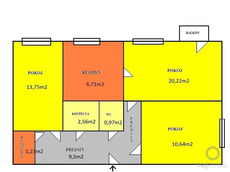Odhlucneni stropu byt 3+1: planek_sporilov_rozmery