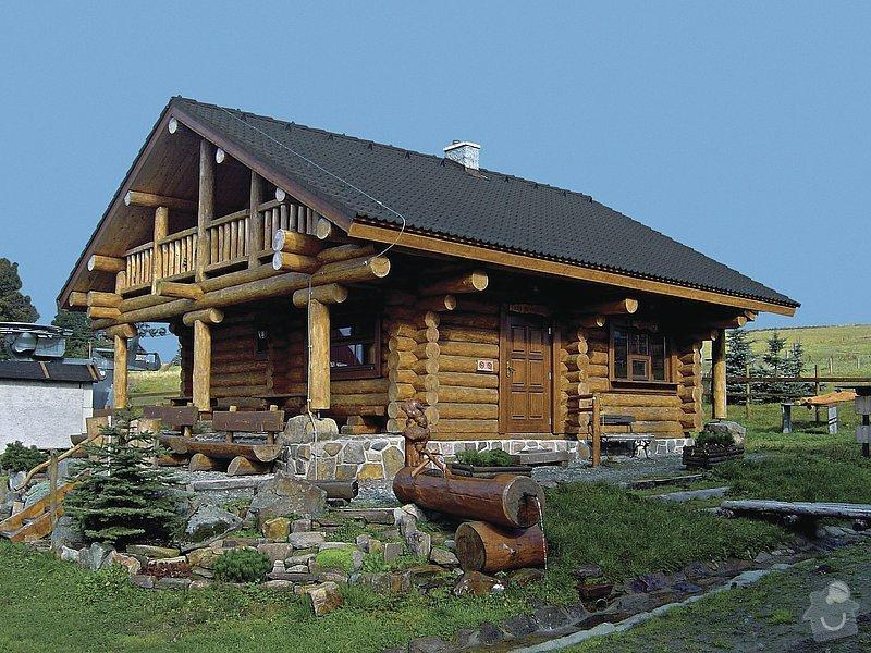 Dřevěné zábradlí na balkón u srubového domu: srub_a_okoli