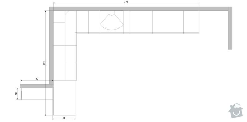 Stavební přípravu pro instalaci kuchyňské linky: pudorys.vec