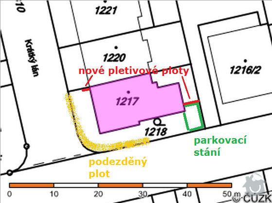 Realizace parkovacího stání a oprava plotu: planek