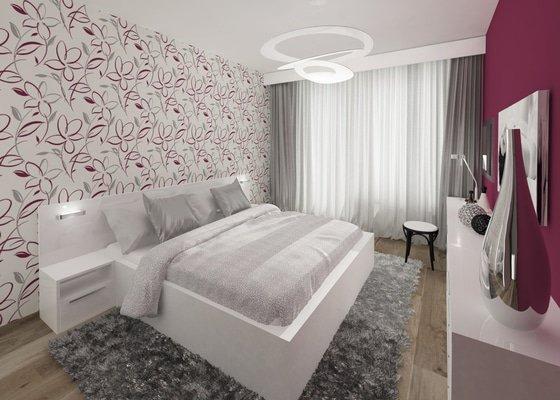 Moderní vínová ložnice s motivem květin