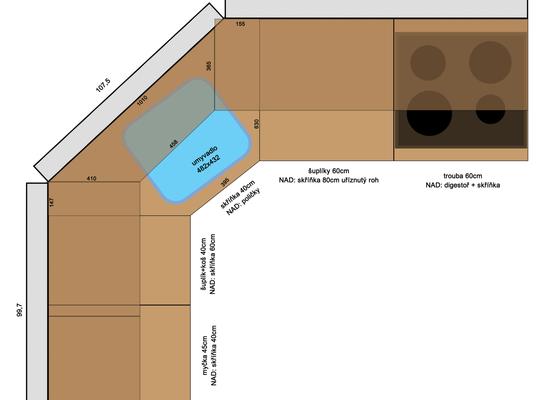 Složení kuchyně + dodělání skříňky a poliček na míru