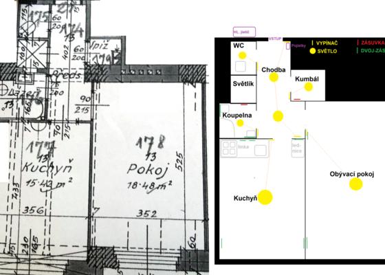 Rekonstrukce elektroinstalace (byt 2kk)