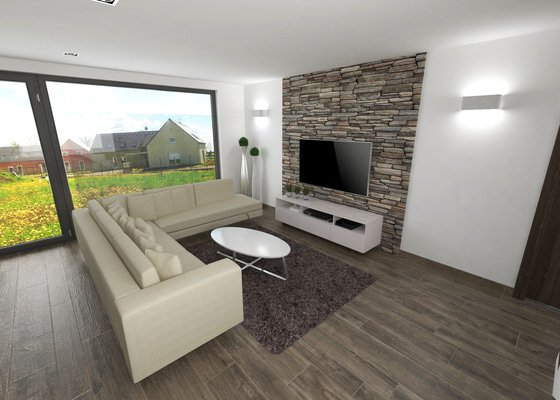 Návrh interieru - obývací pokoj s kuchyňskou linkou