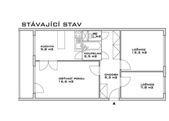 Rekonstrukce jádra a předsíně panelového bytu 3+1