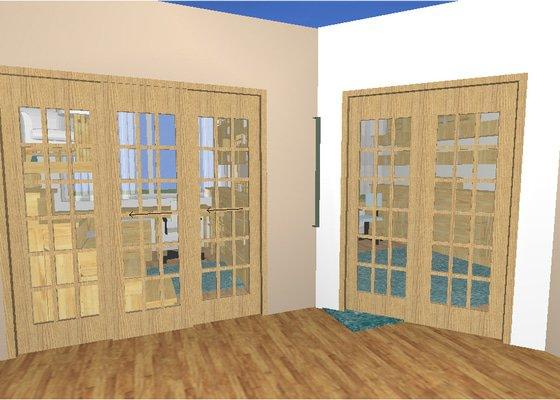 2x velké interiérové masivní dveře - dub