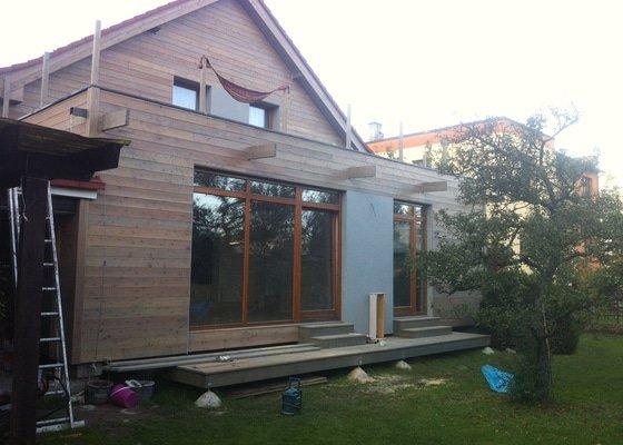 Přístavba - dřevostavba, dřevěná zateplená fasáda